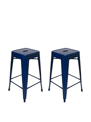 Aeon Furniture Counter Stool in Navy Blue - Set of 2