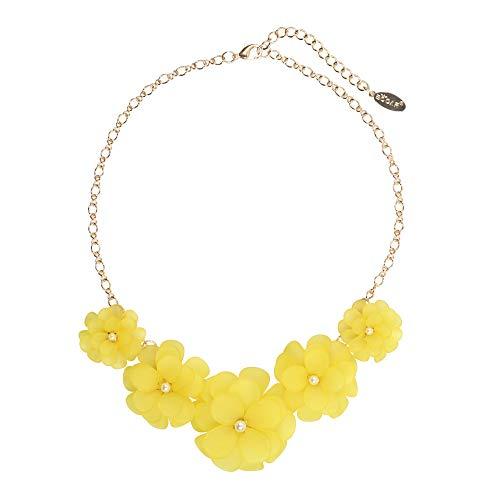 Bocar Newest Acrylic Pendant Collar Flower Statement Choker Necklace for Women (NK-10241-yellow)