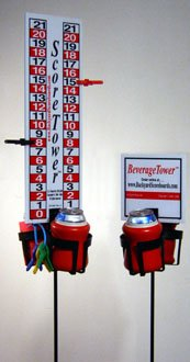 Portable Bocce Scoreboard Combo with Drink Holders and Tailgate Stands