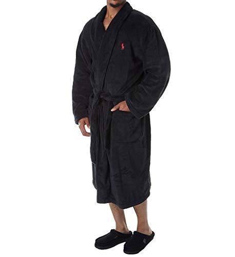 Polo Ralph Lauren Men's Microfiber Plush Long Sleeve Shawl Collar Robe Polo Black/Rl2000 Red Pony Print Large/X-Large