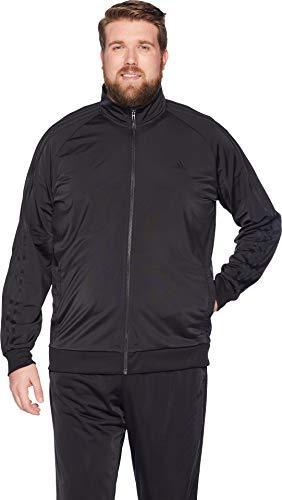 adidas Men's Big & Tall Essentials 3-Stripes Tricot Track Jacket Black/Black Medium