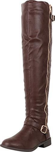 Cambridge Select Women's Thigh-High Quilted Strappy Buckle Riding Over The Knee Boot,8 B(M) US,Brown ()