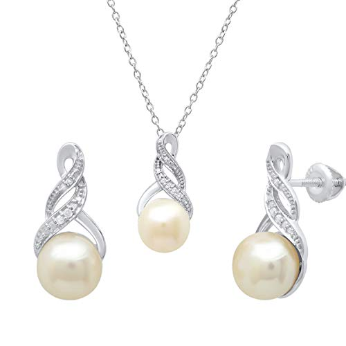 (Dazzlingrock Collection Round Freshwater Pearl & Diamond Accent Ladies Stud Earring & Pendant Set, Sterling Silver )
