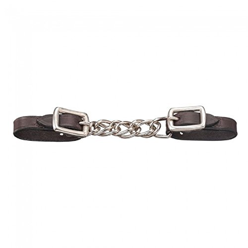(Tough-1 Miniature Nickel Plated Double Chain Dark Oil Leather Curb Chain Adjustable Curb Strap)