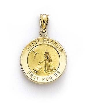 Rond 14 Carats Pendentif Médaille Saint François JewelryWeb