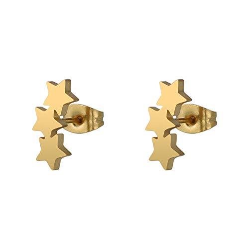 Gloa Earrings Chic Triple Star Ear Studs Stainless Steel Earrings Women Piercing Jewelry Charm - Golden