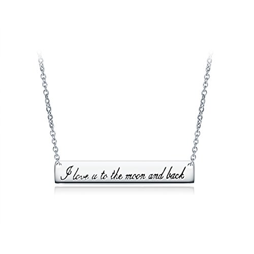 Aola Sterling Silver Horizontal Bar Neckalce with Engraved I Love You to The Moon and Back Pendant Minimalist, Delicate Jewelry for Girlfriend Wife Mom Daughter ()