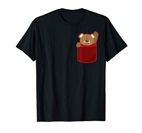 Cute Pocket Teddy Bear Fluffy Waving Hi T-Shirt