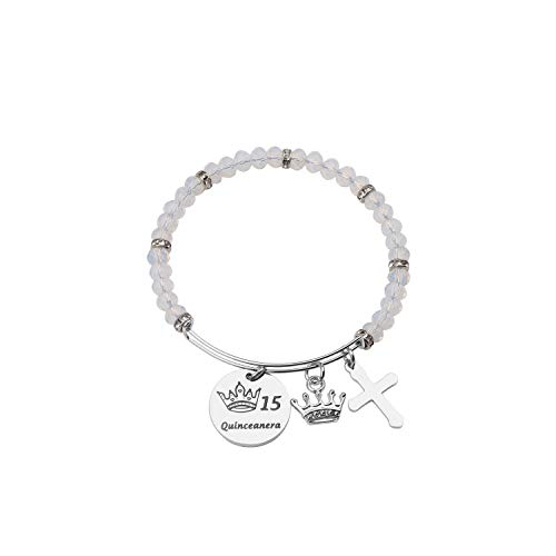 FEELMEM Quinceanera Gift 15th Birthday Bracelet Girls Sweet 15 Quinceanera Expandable Wire Bangle Quince Jewelry Happy 15th Birthday Gift for Girls (15th-02)]()
