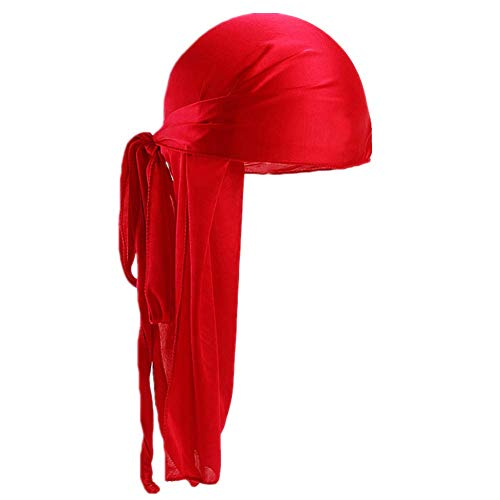 Fxhixiy Men Women Durag Extra Long-Tail Headwraps Silky Satin Pirate Cap Bandana Hat for 360 Waves (Red)]()