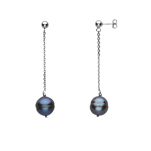 Freshwater Cultured Pearl 9-11mm Black - 925 Sterling Silver Hypoallergenic Dangle Earrings for - Perth Tiffany Australia