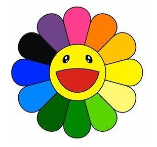 amazon com ty0055 rainbow daisy flower sticker happy face bumper rh amazon com Silly Smiley Face Clip Art Winking Smiley Face Clip Art