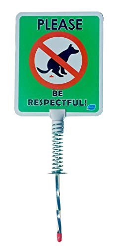 Dynamic TALLER - No Dog Poop Yard Sign | Spring Mount and METAL STAKE Dog Poop Yard Signs, Stop Pets Pooping or Peeing the Lawn Taller w/grip (Please Be ()