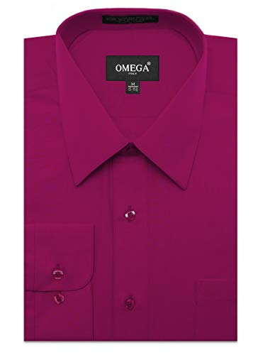 JC DISTRO Mens Regular Fit Dress Shirt w/Reversible Cuff XL 17-17.5N-32/33S Magenta Shirts