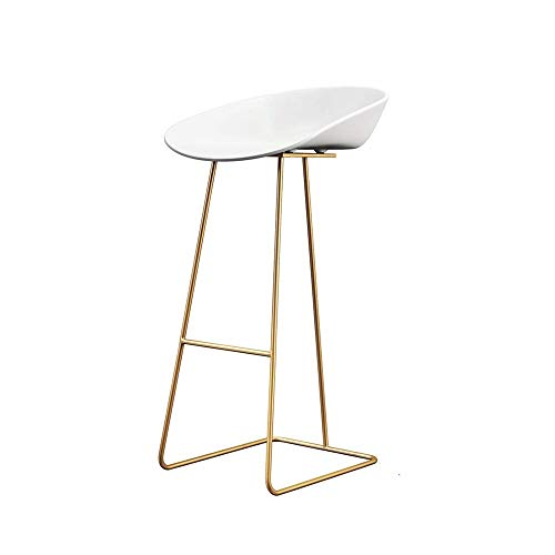 Bar Stool Counter Height Nordic Bar Stool Wrought Iron Gold Bar Stool Modern Minimalist Home Backrest High Chair Creative Gold Bar Chair Indoor Outdoor Barstools (Color : Gold, Size : 80cm)