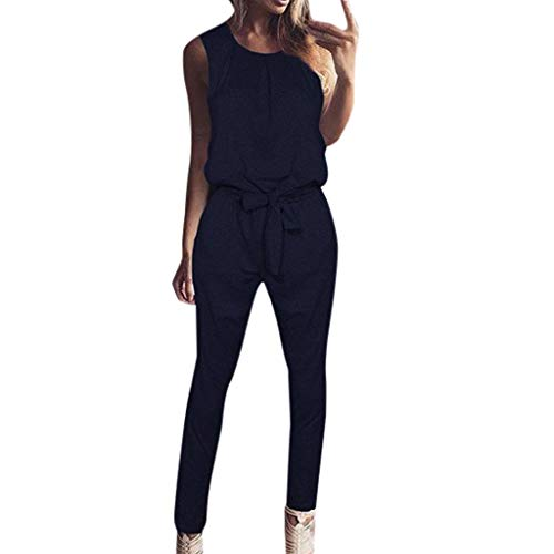 Eaktool Elastic Waist Slim-fit Elastic Pants,Women's Frenulum Solid Elastic Rope Sleeveless Round Neck Repa-Leg Jumpsuit Dark - Elvis Suit Wool