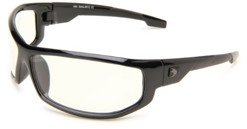 Bobster AXL Wrap Sunglasses, Black Frame/Clear Anti-fog Lens