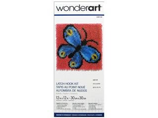 Wonderart Latch Hook Kit 12x12-Butterfly by Spinrite