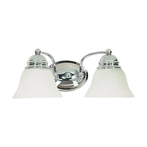 (Filament Design 7777908337 2-Light Polished Vanity Light with Alabaster Glass Bell Shades, Chrome )