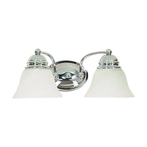 Chrome Alabaster Glass (Filament Design 7777908337 2-Light Polished Vanity Light with Alabaster Glass Bell Shades, Chrome)