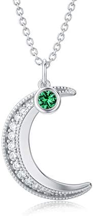 TOUPOP Crescent Moon Necklace Sterling Silver 12 Birthstone Pendant Necklace,Birthday Christmas Anniversary Je