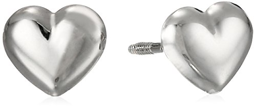 14k White Gold Puff Heart Baby Thread Earrings