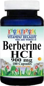 Pure and High Potency Berberine 900mg Per Serving 180 Capsules 2 Bottles