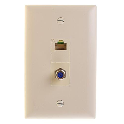 Pass & Seymour Legrand S2KIT-LAV Ethernet Phone TV Combo Plate Connector Almond ()