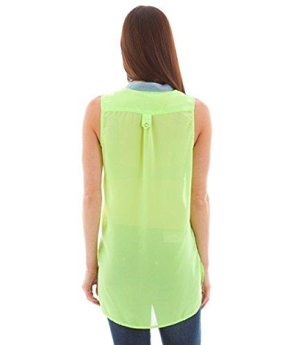 2LUV Women's Lightweight Contrast Trim Side Pocket Blouse Neon Green S(CF2326AL)