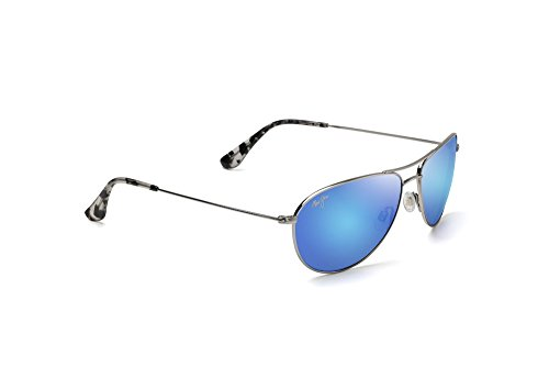 Maui Jim Sea House Sunglasses Silver / Blue Hawaii & Cleaning Kit - Sea House Blue