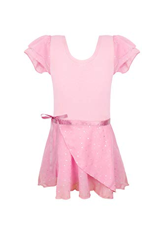 Pink ballet leotards for girls 3t 4t pack of 2 with separate skirts sequins sparkly sparkles toddlers skirted leotards