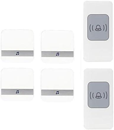 ワイヤレス防水ドアベル、ユニバーサルスマートドアチャイム300m動作範囲ドアチャイム、2プッシュボタン+4 レシーバー、52着信音、4ボリュームレベル,白