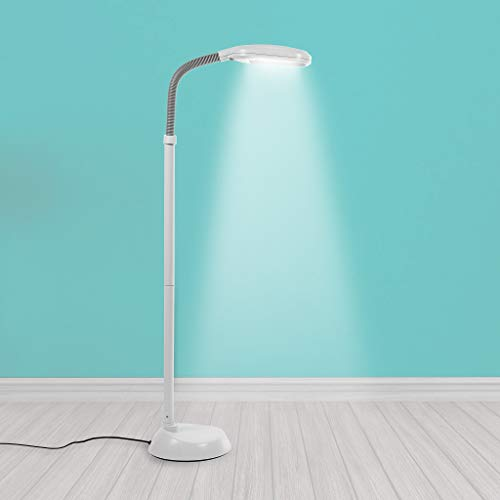 Kenley Natural Daylight Floor Lamp - Tall Reading Task Craft Light - 27W Full Spectrum White Bright Sunlight Standing Torchiere for Living Room, Bedroom or Office - Adjustable Gooseneck Arm - Gray