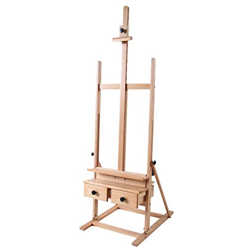 ALUS- Wooden Easel, Fold Sketch Bracket Type Sketching Easel, with Drawer Landing Can Lift Adult Oil Painting Easel, Wood Color (Size : Without Drawing Board)