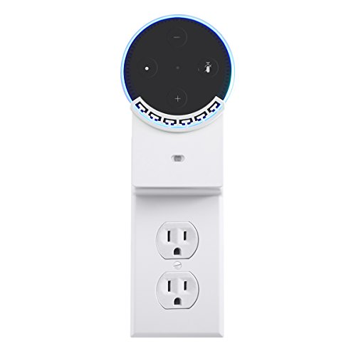 YYGIFT Duplex USB Wall Outlet Plate Echo dot Mount Wall Charger Outlet Cover with Night Light Echo Dot2 Charger Dual USB Charging Ports for Cellphones and Tablets