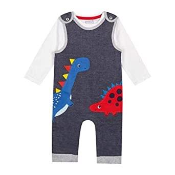 836e76016d0a bluezoo  Baby Boys  Navy Dinosaur Applique Dungarees And Bodysuit Set  BLUE  ZOO  Amazon.co.uk  Clothing