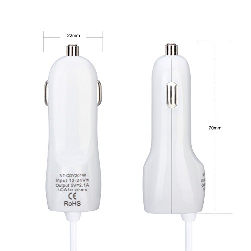 Galaxy S6 Edge Car Charger, Elka® Dual Rapid 3.1 Amp USB Car Charger with 3 Feet Micro USB Charging Data Cable for Samsung Galaxy S6/S5/S4/S3, Galaxy Tab, Note 4/3/2, Google Nexus 7, Motorola Droid Razr Maxx, Moto X/Moto G, LG G3/G2, HTC One, iPhone/iPad/iPad Mini/iPad Air [Apple Charging Cable needed] and more - 24 Month Warranty