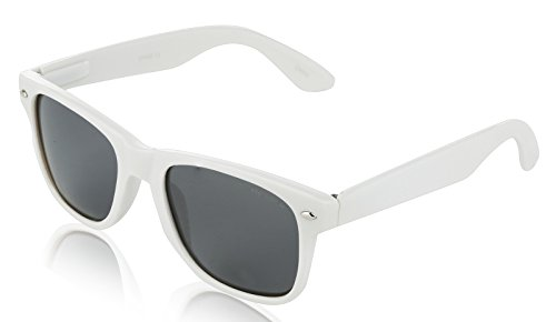 (Unisex Plastic Sunglasses For Adults Cute Trendy 80'S Old Fashion Shade White)