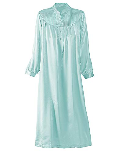 (National Brushed Back Satin Nightgown, Aqua, 1X - Misses,)