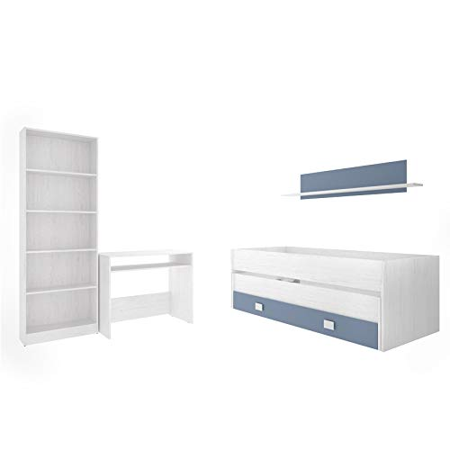 estanter/ía 6 baldas Mesa Escritorio Estante Hogar Decora Dormitorio Juvenil Completo Cama Nido 2 cajones