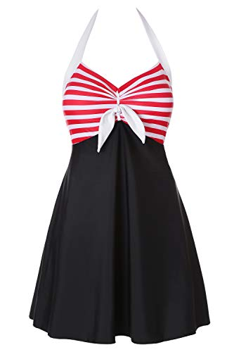 Lemonfish Women Vintage Underwire Sailor Swimsuit, One Piece Plus Size Skirtini Cover Up Swimdress (BlackRed,US 28-30) ()