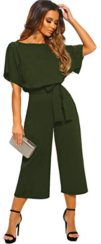 (Longwu Women's Elegant High Waist Short Sleeve Jumpsuit Casual Wide Leg Pants Loose Rompers with Belt Army Green-XL)