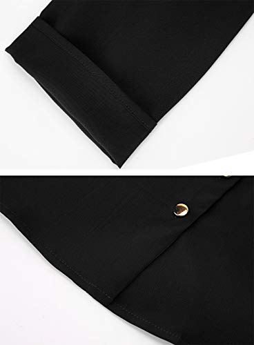 T Blouse Longues Chic Mode Up Tunique Haut Chemisier Button Manches Casual Femme Aitos Noir Top Shirt wfq7ASx