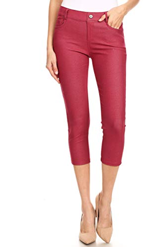(ICONOFLASH Women's Plus Size Burgundy 5 Pocket Capri Jeggings 3XL - Pull On Skinny Stretch Colored Jean Leggings Size 3X-Large )