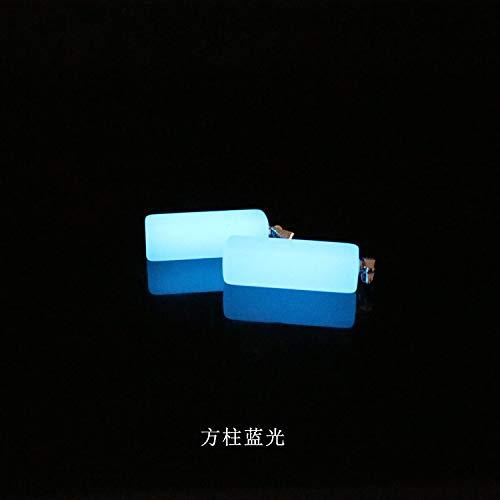 necklace pendant chain fluorescent luminous glow jewelry stones moonlight night stone trinkets (blue square columns