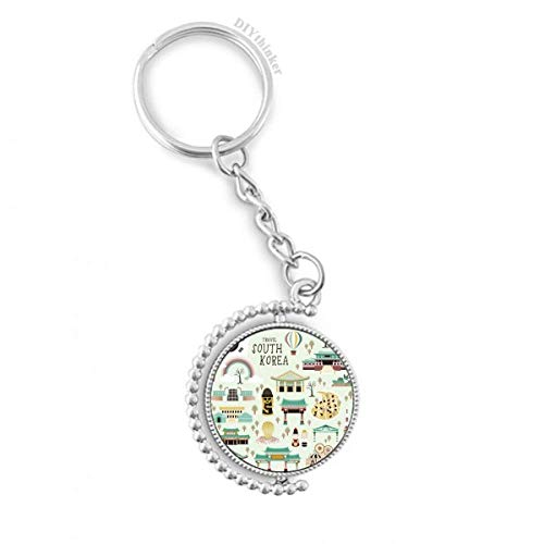 Korea Most Famous Landmarks Rotatable Key Chain Ring Keyholder