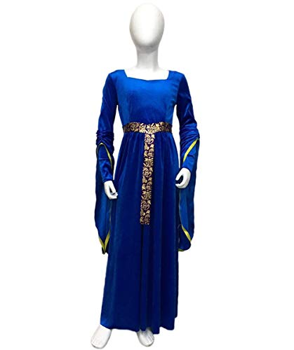 Halloween Party Online Kid's Renaissance Medieval Princess Costume, Blue Large -