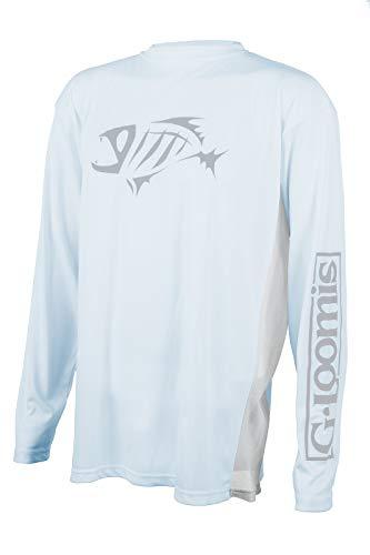 (Loomis G Skeleton Fish Logo Long Sleeve Tech Shirt (Light Blue,)