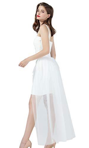 Tulle Skirt Tutu Overskirt Bridal Overlay Long Detachable Train for Women Wedding Party Evening Off White S