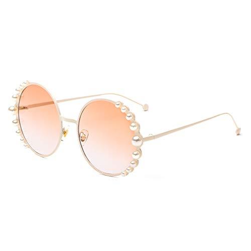 (Naimo Fashion Round Pearl Decor Sunglasses UV Protection Metal Frame)